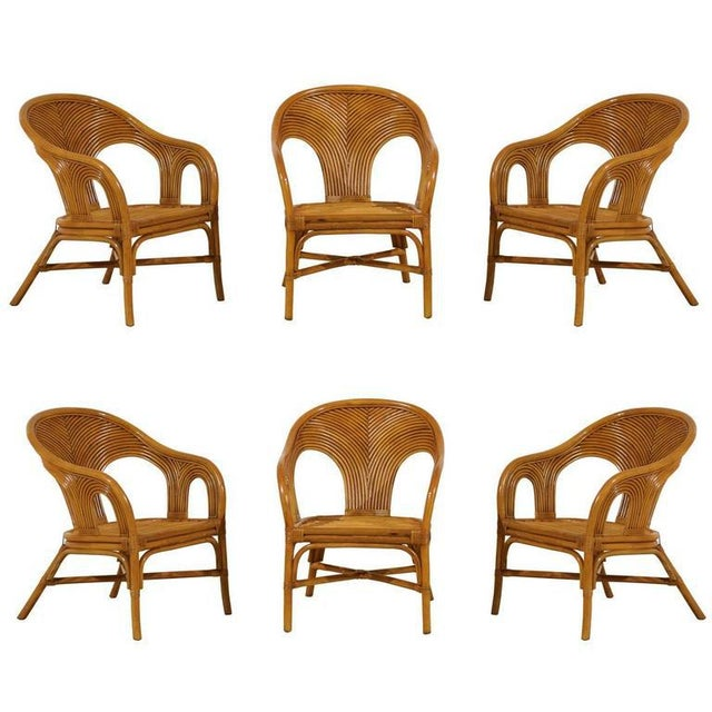 Sculptural Set of Six Vintage Bamboo Dining Chairs For Sale - Image 11 of 11