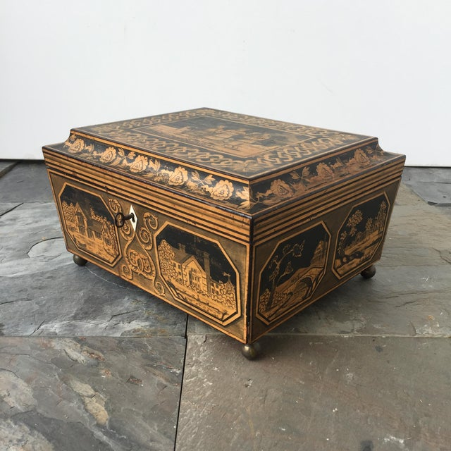 English 19th Century English Pen-Work Decorated Box For Sale - Image 3 of 6