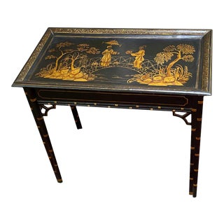 English Black Lacquer and Parcel Gilt Table For Sale