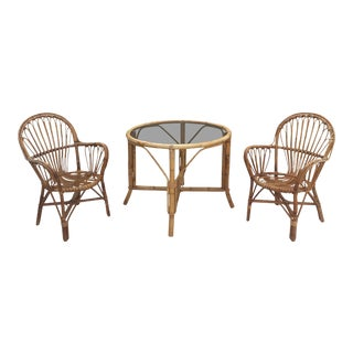 20th Century Boho Chic Rattan Bistro Set - 3 Pieces For Sale