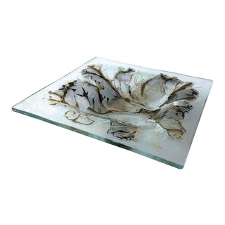 Frances and Michael Higgins Studio Abstract Art Glass Tray For Sale