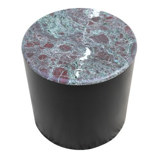 Mid Century Modern Vintage Paul Mayen Style Green & Burgundy Marble Top Drum Side Table For Sale