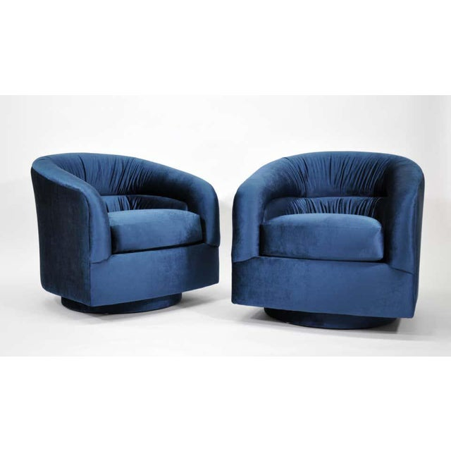 Mid-Century Modern Milo Baughman for Thayer Coggin Blue Velvet Swivel Lounge Chairs - a Pai For Sale - Image 3 of 9