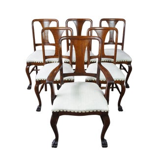 1900s Antique Quarter Sawn Oak Dining Chairs- Set of 6 For Sale