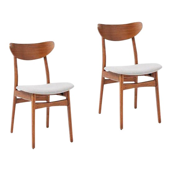 25dac3eca08e West Elm Classic Café Upholstered Dining Chairs - A Pair For Sale