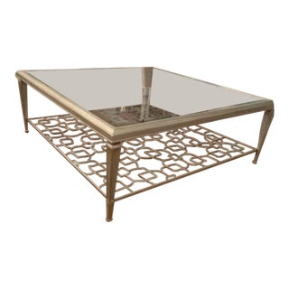 Transitional Caracole Square Taupe Silver Leaf Cocktail Table For Sale