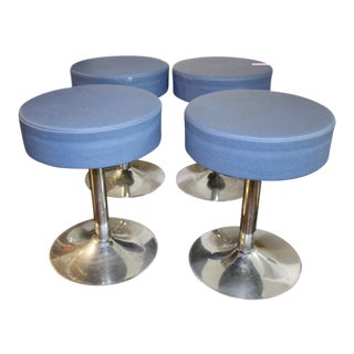 Mid-Century Modern Blue and Chrome Stools - Set of 4 For Sale