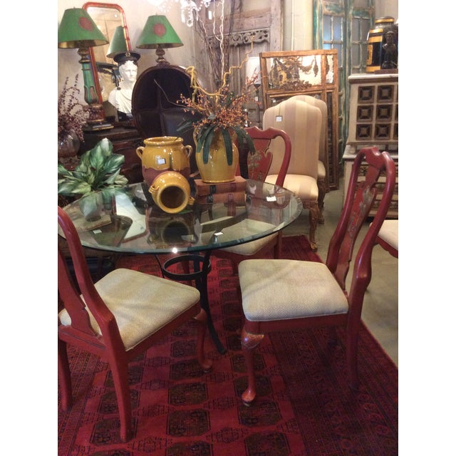 Red Chinoiserie Dining Chair - Set of 4 For Sale - Image 12 of 13