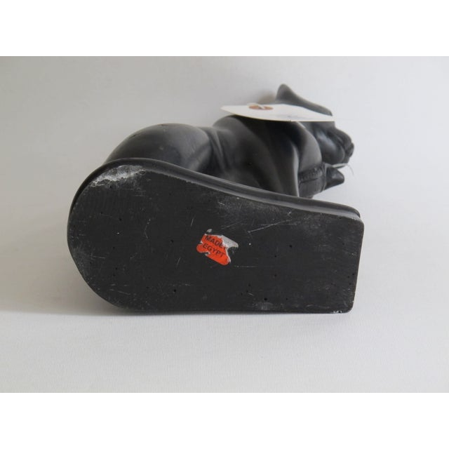 Egyptian Black Cat Carved Stone Sculpture - Image 9 of 10
