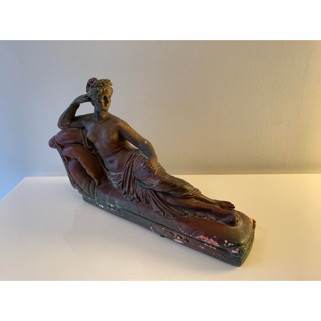 Figurative Plaster Reclining Female Figure Sculpture For Sale - Image 3 of 12