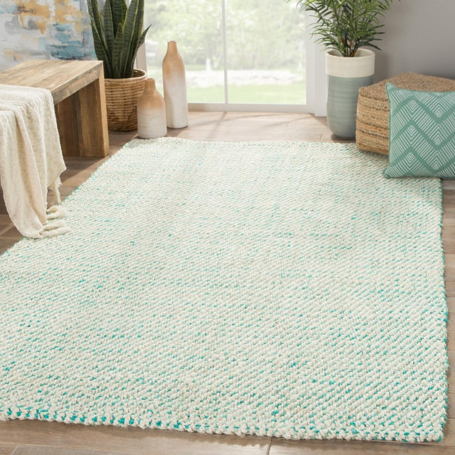 2010s Jaipur Living Almand Natural White/ Aqua Area Rug - 9′ × 12′ For Sale - Image 5 of 6