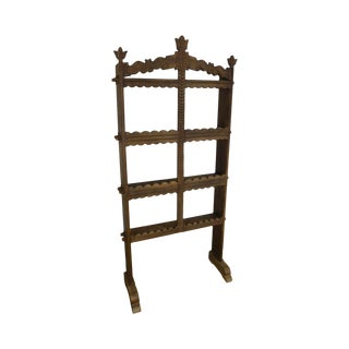 French Country Antique Oak Standing Spice Rack For Sale