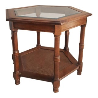 Wood and Glass Top Table For Sale
