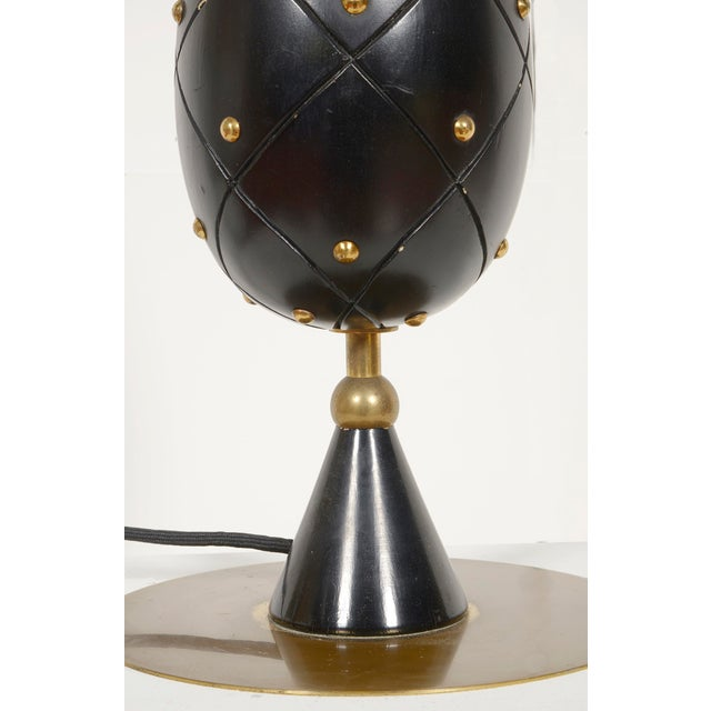 Large Stilnovo wood and brass table lamp. Signed.