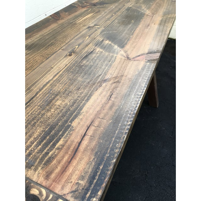 Wood Rustic Wooden Rectangular Center Table For Sale - Image 7 of 9