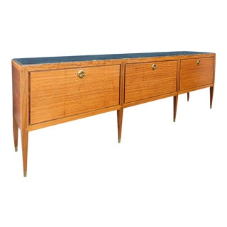 Italian Paolo Buffa Credenza with Satinwood and Inset Marble Top For Sale