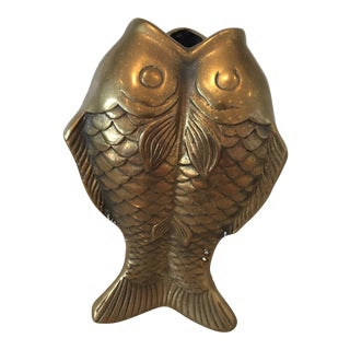 Vintage Brass Vase - Fish For Sale