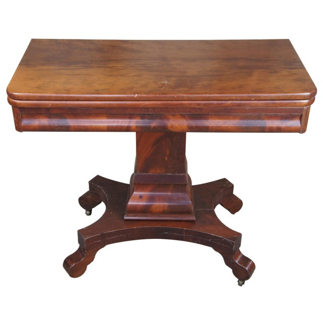 Antique American Empire Flame Mahogany Swivel Game Console Table For Sale - Image 13 of 13