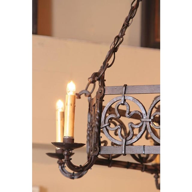 19th Century French Gothic Hexagonal Black Wrought Iron Six-Light Chandelier For Sale - Image 5 of 10
