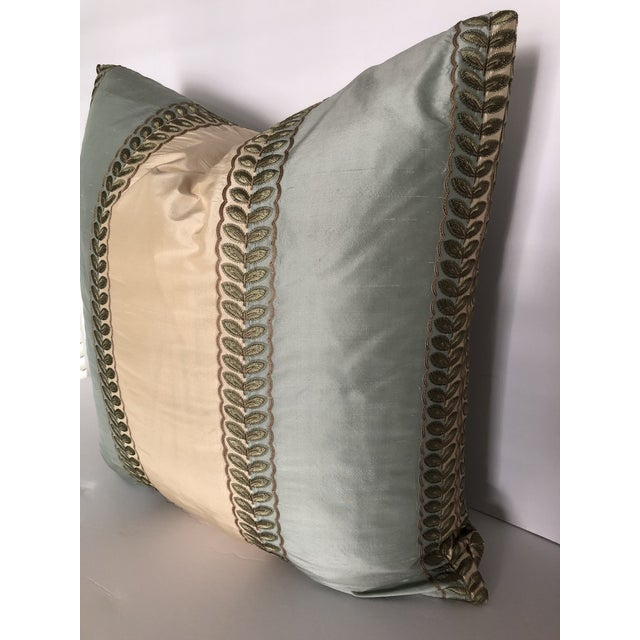 "Modern Manuel Canovas Mint Green & Cream Stripe, Goose Down Insert Pillow 22"" x 22"" For Sale - Image 3 of 4"