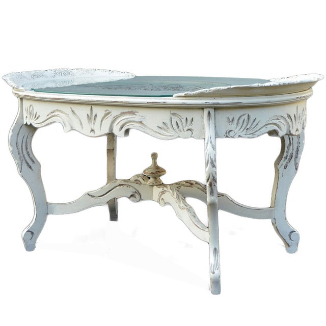 Vintage White Cottage Chic Coffee Table - Image 1 of 4