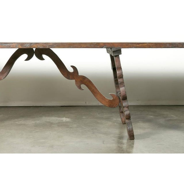Early 19th Century Italian Baroque Style Walnut Trestle Dining Table For Sale - Image 4 of 10