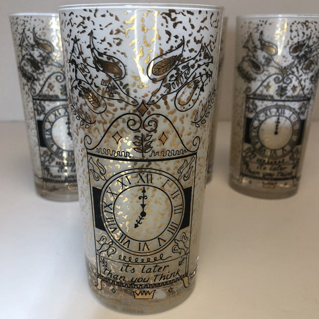 """Mid 20th Century Georges Briard """"It's Later Than You Think"""" 22k Glasses - Set of Four For Sale - Image 5 of 10"""