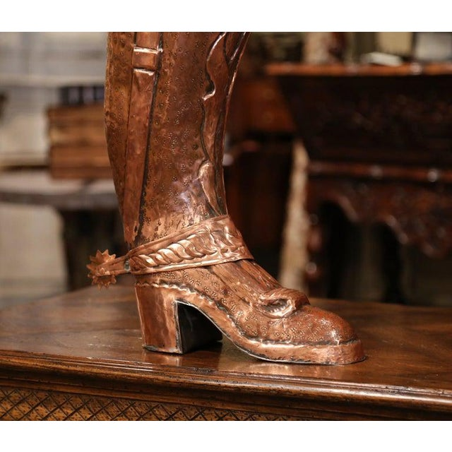 French Early 20th Century French Polished Repousse Copper Boot Umbrella Stand For Sale - Image 3 of 6