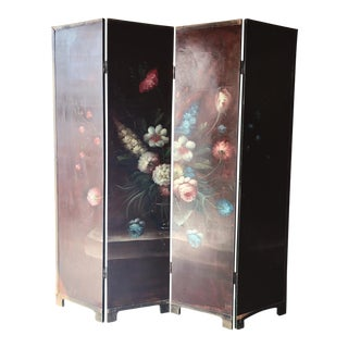 Antique Handpainted Floral Wood Room Divider For Sale