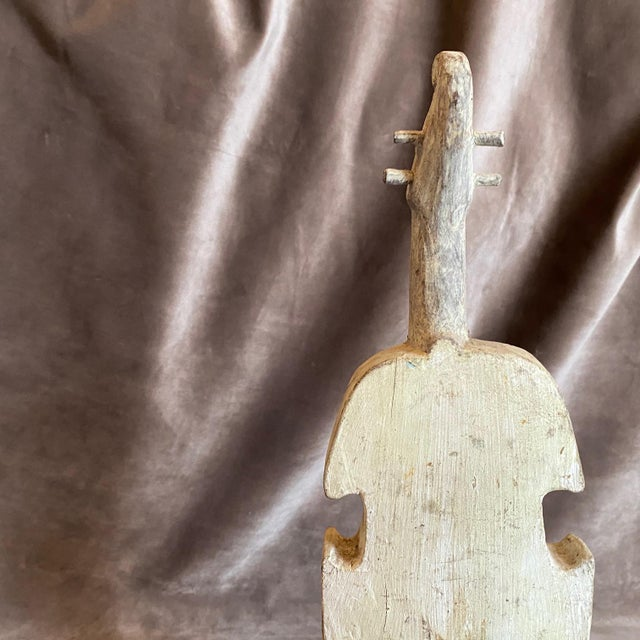 Metal 18th Century Ancient Wooden Guitar Fragment on an Iron Base For Sale - Image 7 of 10