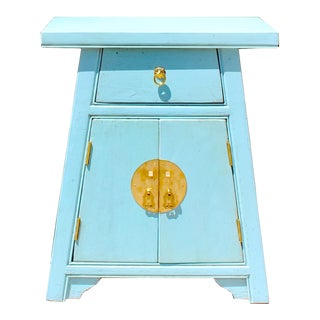 Chinese Distressed Pastel Blue Small a Shape End Table Nightstand For Sale