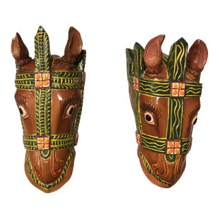 Late 20th Century Vintage Carved Horse Heads - a Pair For Sale