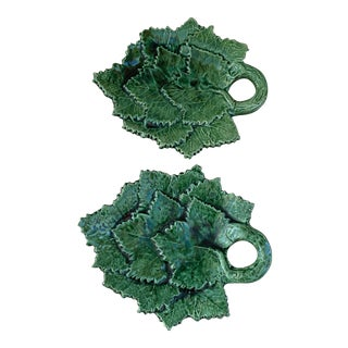 Vintage Hand Crafted Green Majolica Leaf Plates From Portugal- Set of 2 For Sale