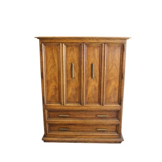 1960s Mid-Century Modern Burl Wood Armoire For Sale