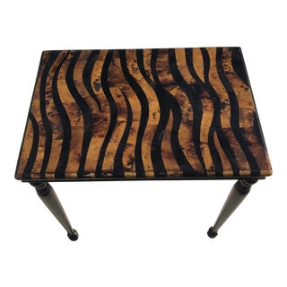 20th Century Hollywood Regency Maitland Smith Tessellated Stone Tortoise Finish Table For Sale