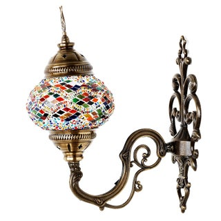 Turkish Tribal Handmade Mosaic Wall Lamp For Sale