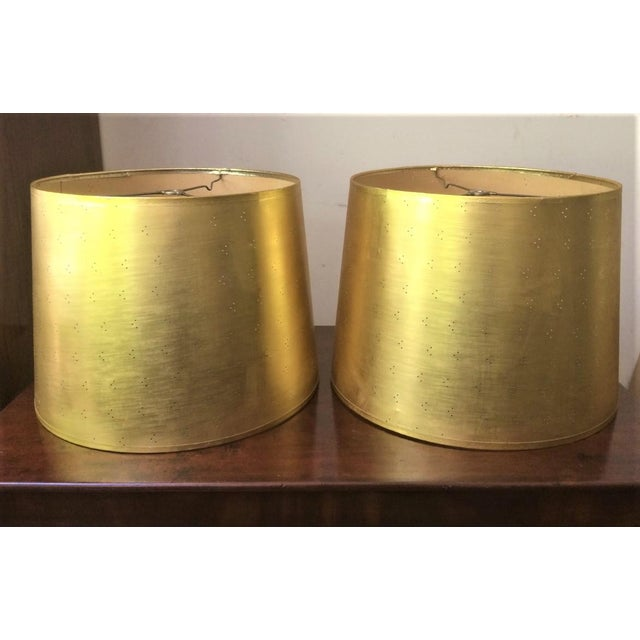 Gold Vintage Perforated Gold Lamp Shades - a Pair For Sale - Image 8 of 8