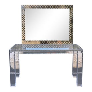 Very Rare Vintage Lucite Console Table & Mirror W Coin Collection Inlay For Sale