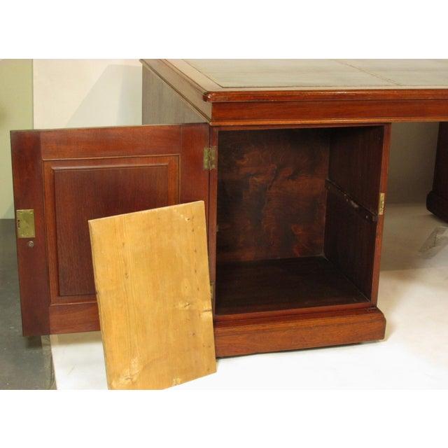 Brown 1900s Edwardian Partners Desk For Sale - Image 8 of 13