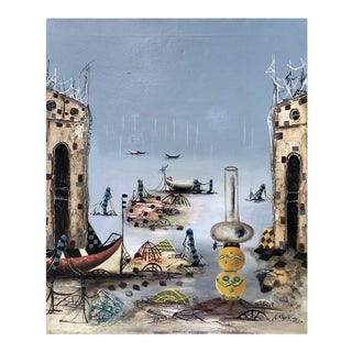 [unattributed] American : Surreal Harbor, 1927. For Sale