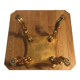 Italian Rococo Carved Giltwood Glass Top Side Table For Sale