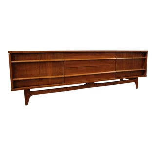 Mid-Century Danish Modern Elongated Low Concave-Front Walnut Credenza