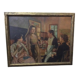 Antique Girls' Sewing Class Illustrator Art Oil Painting