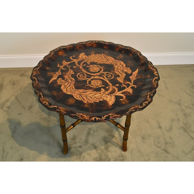 Gold Black & Gold Crackle Painted Finish Pie Crust Tray Top Faux Bamboo Coffee Table For Sale - Image 8 of 13