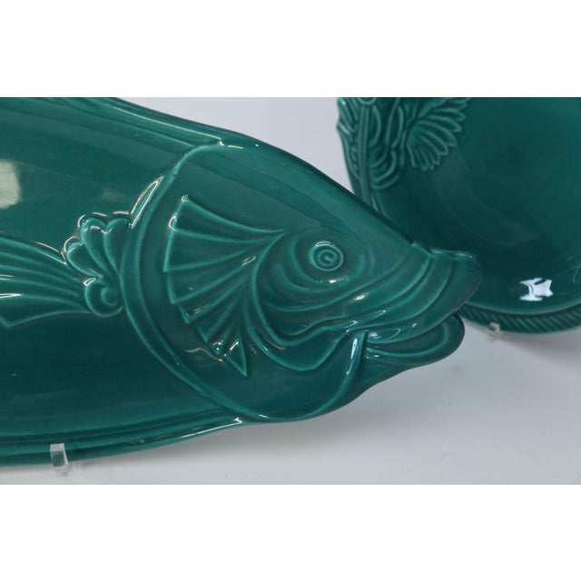 Set of Teal Fish-Shape Ceramic Dishes For Sale - Image 9 of 11