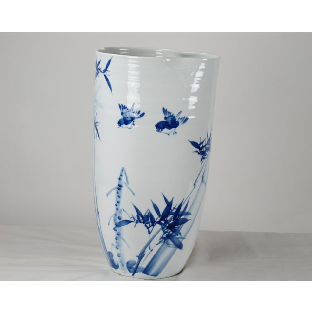Chinoiserie Blue & White Porcelain Vase For Sale - Image 4 of 8