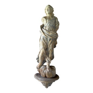 16th Century Carved Wood Figure of Female Dressed in Draped Robes For Sale
