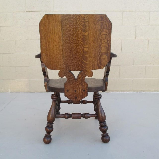 Brown French Antique Pub Armchair For Sale - Image 8 of 8