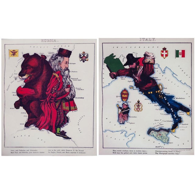 2010s 1869 Vintage Caricature Maps of Europe - Set of 12 For Sale - Image 5 of 10