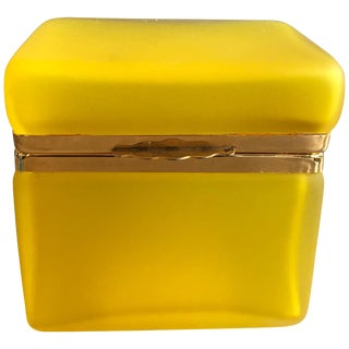 Vintage Yellow Satin Glass Box For Sale